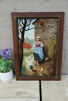 Large antique French Painting on porcelain signed Taillandier 1883 chicken n1