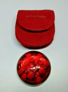 Mary Kay Affection Solid Perfume Slide Compact Full Transparent Red Glass 0.1oz