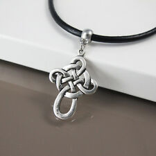 Womens Mens Black Leather Tribal Necklace Silver Alloy Celtic Cross Pendant NEW