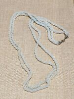 Vintage Silver Tone White Blue Glass Seed Bead Twist Necklace