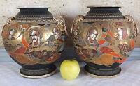 Coppia Vasi Posate Ceramica Satsuma Destra Fine 19ème Asian Ceramic