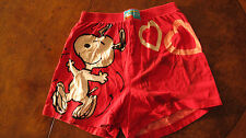 PEANUTS - SLEEP SHORTS MEDIUM 32-34 RED SNOOPY DANCING OF FRONT