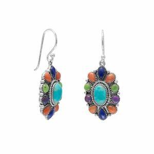 925 Sterling Silver 35mm Colorful Oxidized Multi-stones Oval Cut Dangle Earrings