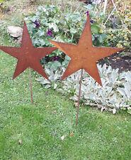 2er Set  80cm Garten Stecker Metall Rost Stern Sterne Eisenstab Weihnachtsstern