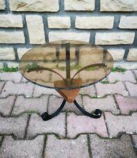 Vintage Années 1960 Petite Table Tripode Plateau Plexi Pieds Fer Forgé Bois