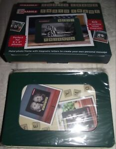 SUPERB SCRABBLE PHOTO FRAME 60 RE-USABLE LETTER MAGNETS CONTENTS MINT IN BOX