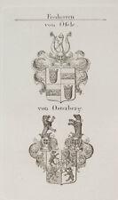 1847 Wappen Freiherren Von Öfele von Osterberg Kupfer von Tyroff Coat of Arms