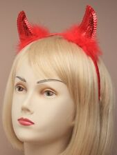 NEW Red sequined and feather Devil Horn Headband party halloween fancy dress