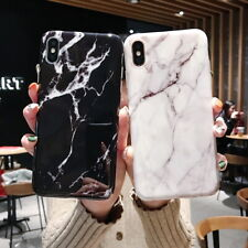For iPhone Xs Max XR X 7 8 Plus 6s Retro Marble Granite Pattern Soft Cover Case
