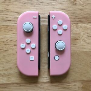 Custom Nintendo Switch Soft Pink Joy Con Controllers With A White Button Set