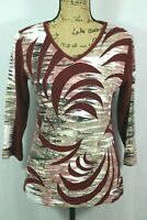 Parsley & Sage Colorful Printed Top Size Small Applique Dark Red Cotton Rayon