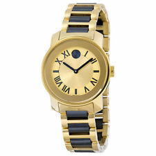 New Movado Bold Yellow Gold Dial Two-tone Stainless Steel Ladies Watch 3600355