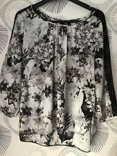 Wallis Long Sleeved Top Size L Grey, Black And White In Colour. Used