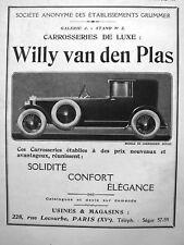 PUBLICITÉ DE PRESSE 1923 CARROSSERIES DE LUXE WILLY VAN DEN PLAS