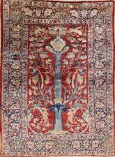 Pre-1900 Antique SILK Heriz Area Rug Collectible Museum Piece Animal Theme 5'x7'