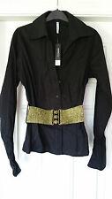ETHEL AUSTIN Black fitted Stretch Shirt. Wide Gold Stretch Belt. Brand New. s 12