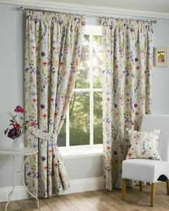 HAMPSHIRE Floral Printed Lined Ready Made 3''Tape Top Pencil Pleat Curtains Pair