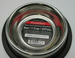 ONE NEW Stainless Steel Dog Bowl No Tip Anti Skid 8 Ounce 1 Cup DW Safe Rust-Res