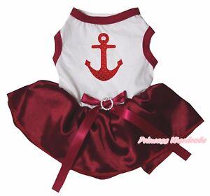 Bling Sailor Valentine White Top Wine Red Satin Tutu Pet Dog Dress Puppy Clothes