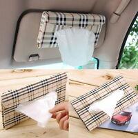 Auto Accessories Holder Paper Napkin Clip PU Leather Car Sun Visor Tissue Box I1