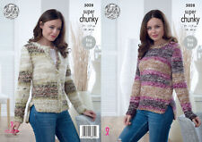 King Cole Ladies Super Chunky Knitting Pattern Easy Knit Sweater & Cardigan 5028