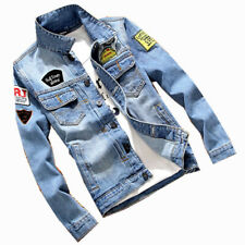New Mens Denim Jacket Bomber Jean Coat Casual Cargo Cowboy Jackets Outwear