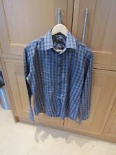 Preowned Jeff Banks Blue/Grey Checked Mens Long Sleeved Cotton Slim Shirt Size M