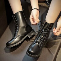 Women's Punk Lace Up Combat Ankle Martin Boots PU Leather Flat Shoes New