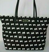 Kate Spade Blake Ave Margareta Black & Cream Bow Zip Top Tote Shoulder Bag $248