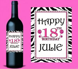 Personalised Wine Bottle Label Birthday Gift 21st 30th 40th ANY AGE For Gin Etc
