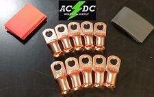 "(10) 1/0 Gauge Copper Ring/BATTERY Terminals 3/8"" RED/BLACK Heat Shrink Tubing"