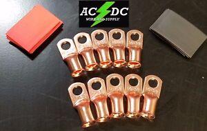 (10) 1/0 Gauge Bare Copper Ring lug BATTERY Terminal 3/8 RED/BLACK Heat Shrink