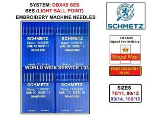 DBXK5 SES SIZE:75/11 TO 100/16 EMBROIDERY INDUSTRIAL SEWING MACHINE NEEDLES