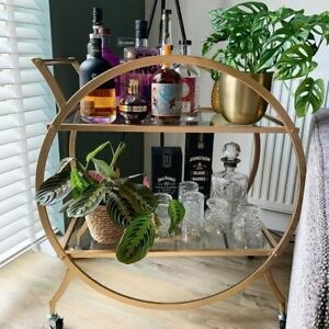 Gold Drinks Bar Trolley Alcohol Cart Mini Kitchen Storage Cocktail Table Wheels