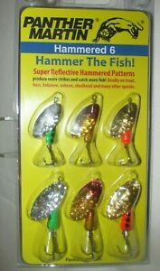 #1135  NEW PANTHER MARTIN HAMMERED 6 SPINNER FISHING LURES (6 LURES)