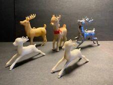 5 Vintage 1950's Irwin Christmas Plastic Reindeer Prancing Deer Mid-Century