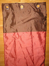 """Mocha Brown & Rust Red Curtain Panel w Bronze Grommets 54"""" wide x 84"""" long Lined"""