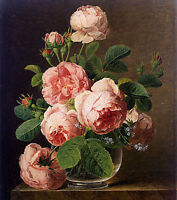 Dream-art Oil painting Jan Frans van Dael - Still Life of Roses in a Glass vase