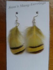 Rooster Pheasant Feather Earrings Summer Colours In Gold Or Silver  Hand Made