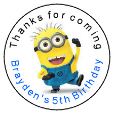 24 Minion Despicable Me Birthday Favor Label Stickers  Personalized  1.67""