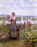 Nice Oil painting Maria on the Terrace with a Bundle of Grass in landscape