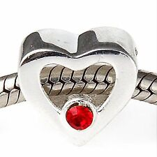 ❤ LOVE HEART RED Genuine 925 Sterling Silver Charm Bead Gift Mum Wife Love You ❤