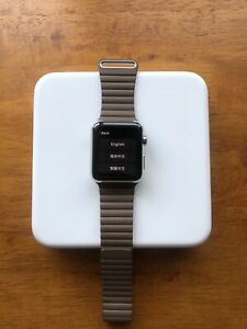 Apple Watch 42mm Stainless Steel Case Light Brown Leather Excellent condition!