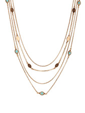 $45 Lucky Brand  Multi-Row Heritage Holiday Turquoise Nested Chain Necklace