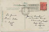 GB 1906 EVII 1D pc EDINBURGH to OBSERVATORY-ROAD South-Africa POSTMARK-ERROR