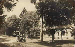 Clinton WI Road Car & Church c1910 Real Photo Postcard