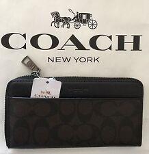 COACH F75000 Mens Mahogany Brown Accordion Wallet Signature/Leather $250 NWT