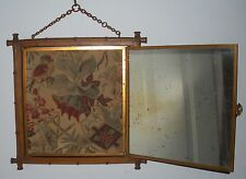 Antique French Brevete SDGD LB 1876 Chinoiserie Asian Bamboo Tri Fold Mirror