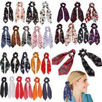 Women Girl Hair Band Bow Ribbon Hair Rope Ring Ties Elastic Scarf Scrunchie