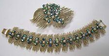 Vintage Jewelry CORO Demi-Parure Brooch Bracelet Blue Aurora Goldtone Filaments